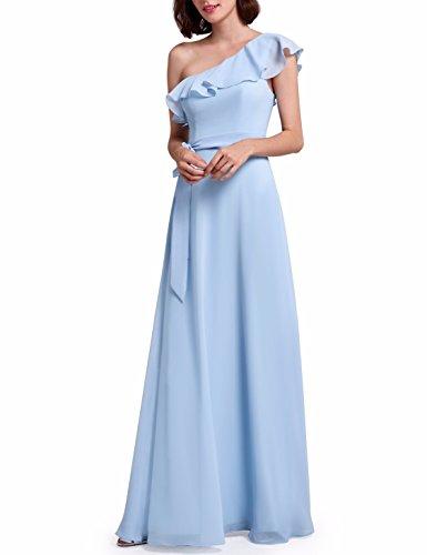 Chiffon Flounce - Ever-Pretty Womens Ruffled Flounce Bodice Chiffon Oblique Neckline Bridesmaids Dress 6US Sky Blue