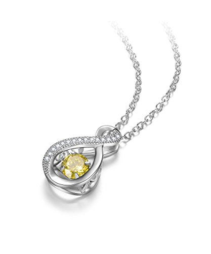 EVER2000 Sparkling Birthstone Pendant Necklace,Infinity Sterling Silver with CZ Birthday Gift for Women