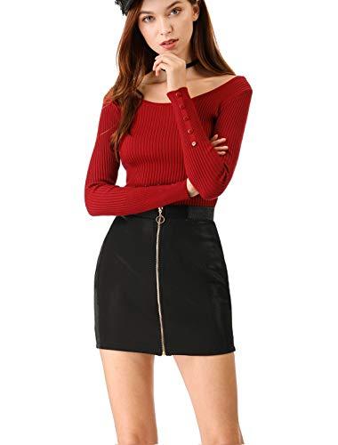 Allegra K Women's Zip Front Bodycon Skirts Party Club Short Mini Skirt XL ()