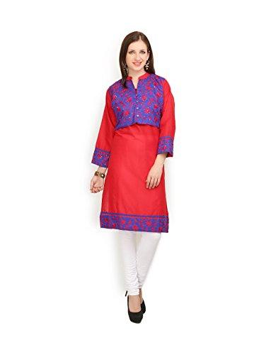 IndusDiva Women's Red and Blue Cotton Straight Cut Kurti
