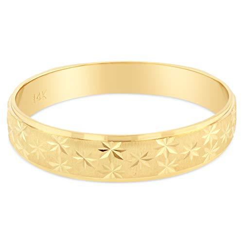 Pattern 14k (Ioka - 14K Yellow Solid Gold 4mm Diamond Cut Star Pattern Women's Wedding Band - size 7)
