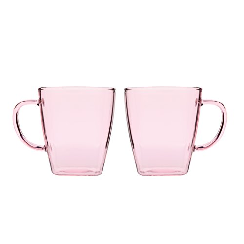 17 Ounce Glass Cups Coffee Mugs with Handles Made of Borosilicate Pyrex Cup for Espresso Juice Water Milk Set of 2 Pink (Drinking Glasses Pink Hot)