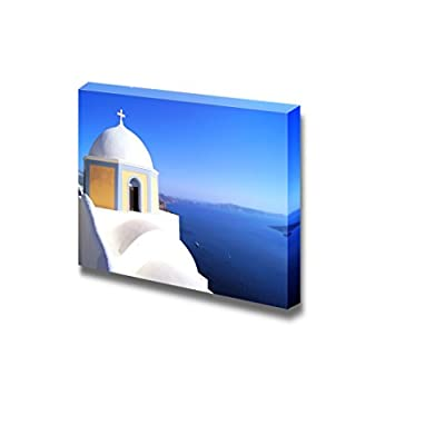 Traditional White Church Overlooking The Blue Sea Santorini Greece Wood Framed - Canvas Art Wall Art - 32