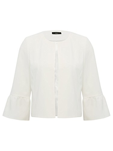 Three M Ladies Length amp;Co Ivory Collarless Ivory Flute Sleeve Quarter Open Cropped Jacket Front xrwXtw5fq