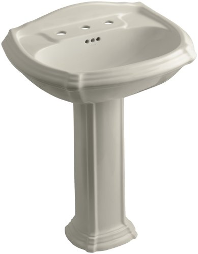 KOHLER K-2221-8-G9 Portrait Pedestal Bathroom Sink with 8