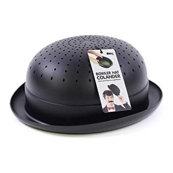 Bowler Hat Kitchen Colander Strainer, Black, for Pasta, Fruits and Vegetables