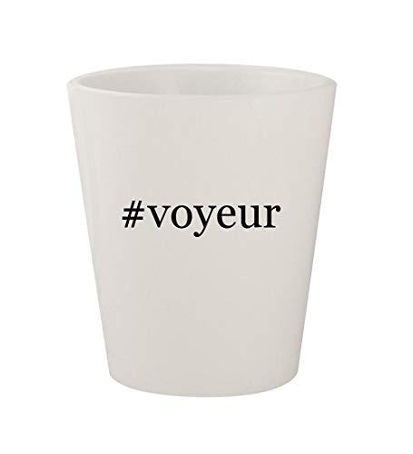 #voyeur - Ceramic White Hashtag 1.5oz Shot Glass (Best Camera For Upskirt)