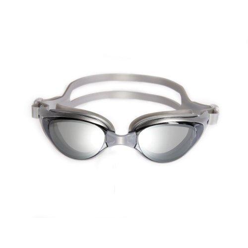 Lunette de natation piscine bain mer UV antibuée adulte homme femme argent