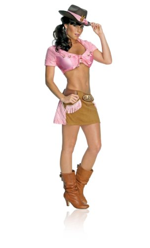 Playboy Belt Buckle (Secret Wishes Women's Playboy Cowgirl Costume, Brown/Pink, Medium)