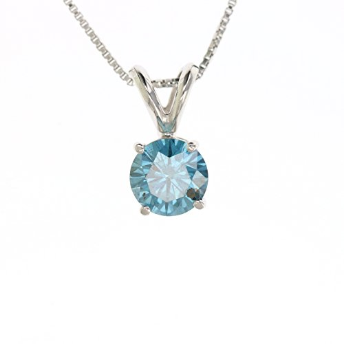 1 CT Blue Diamond Solitaire Pendant 14K White Gold