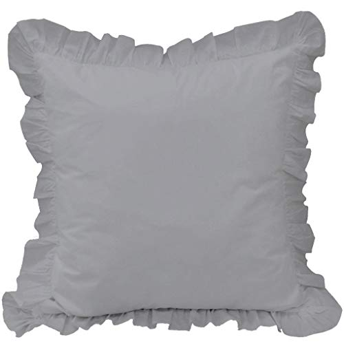 - White House Silver Grey Ruffle Pillow Shams Set of 2 - Luxury 550 Thread Count 100% Egyptian Cotton Cushion Cover Euro Size Decorative Pillow Cover European Pillow Sham (2 Pack, Euro 26'' x 26'')