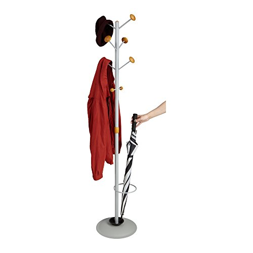 Mind Reader Standing Coat Rack Hat Hanger Holder Hooks for Jackets and Purses Umbrella Stand with Metal Base
