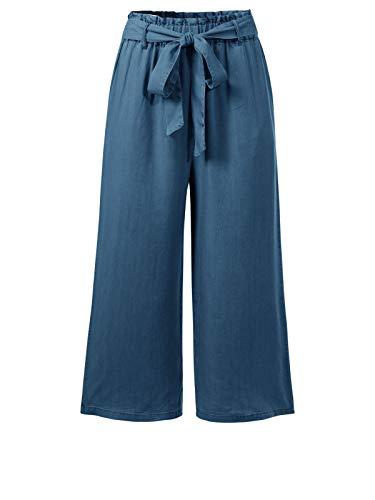 Design by Olivia Women's Elastic Waist Wide Leg Cropped Capris Drawstring Jean Medium Blue M