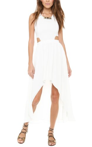 S-MSS Womens Hot Open Back High Low Irregular Party Prom Dance Dress White-XL