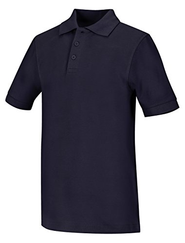 Knit Sleeve Pique Shirt (Classroom Unisex Short Sleeve Pique knit Polo, Dark Navy, Large)