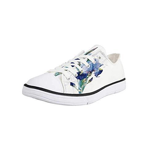 (Canvas Sneaker Low Top Shoes,Flower,Shabby Chic Irises Bouquet Elegance Petals Botanic Beauty Florets Watercolor Art Decorative Man 11)
