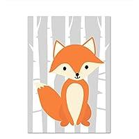 GUOXIN12 Nursery Wall Art Canvas Paintings Deer Fox Prints Woodland Animal Posters, Nordic Kids Room Decor Baby Girl Boy Bedroom Pictures kk66