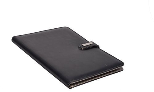 COI BLACK LEATHERITE CONFERENCE FOLDER / DOCUMENT FOLDER WITH WRITING PAD