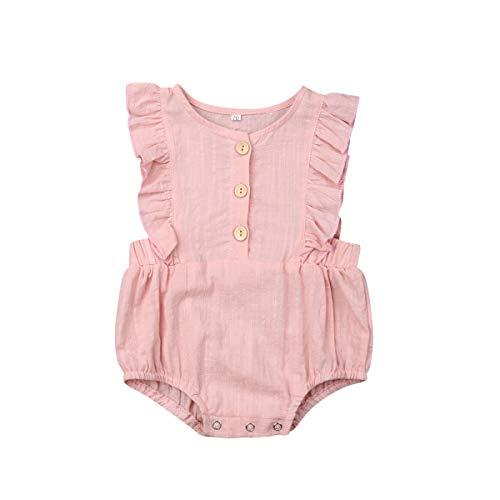 Ursmartt Baby Girls Ruffled Rompers Sleeveless Cotton One-Piece Jumpsuit Bodysuit + Headbands (12-18 Months, Pink #2)