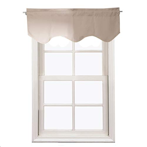 Aquazolax Window Treatments Blackout Scalloped Valance Solid Decorative Scalloped Curtain Valance, 52inch by 18inch, Taupe/Khaki, 1 Piece ()
