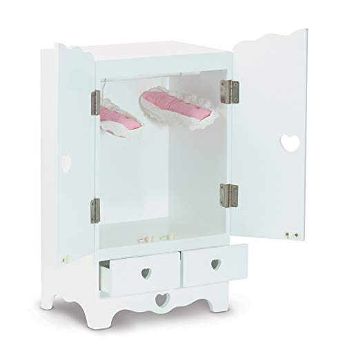 "Melissa & Doug White Wooden Doll Armoire Closet With 2 Hangers, 12"" H x 20"" W x 9"" L from Melissa & Doug"