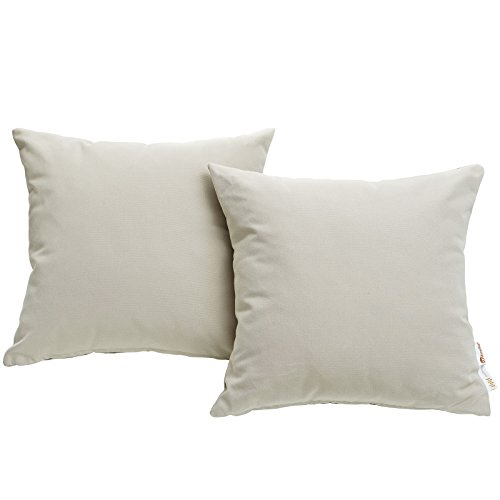 Modway Summon 2 Piece Outdoor Patio Pillow Set With Sunbrella Brand Antique Beige Canvas Covers by Modway