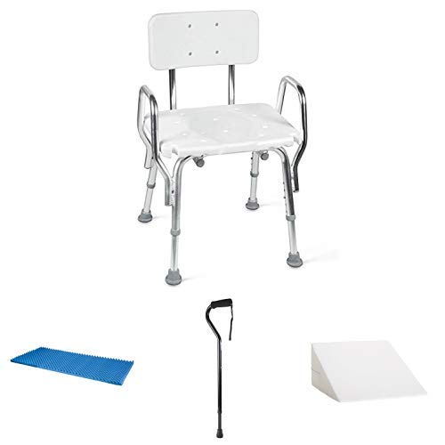 Medical Tool-Free Assembly Spa Bathtub Shower Chair with Foam Bed Topper Hospital Bed Pad Foam Bed Pad and Adjustable Walking Cane, DMI Foam Bed Wedge Pillow Acid Reflux PIllow Leg Elevation Pillow
