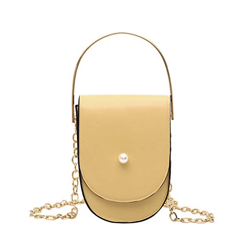 Jophufed Pearl Chain Bag Leather Shoulder Crossbody Simple Fashion Women Ornament.(Yellow)