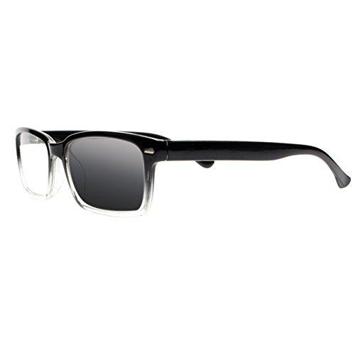 Silver Transparent Frame (Transition Photochromic Silver Rivets Frame UV400 Reading Glasses Readers Sunglasses (Black Transparent, 2.0))