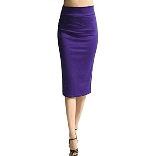 Femmes Violet Skinny Adeshop Couleur Extensible Mince Pure Taille Haute Crayon Jupe dBv7BX