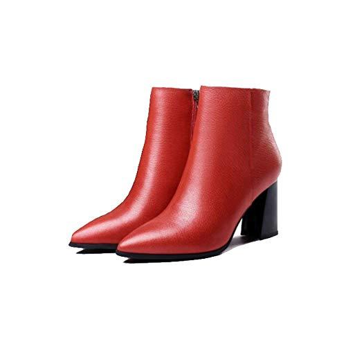 Chaudes Bottes Bottillons Épais Red La Mode Mode Pour Femmes Confortables Talons Pointues Zpedy Femmes 14BqPnq
