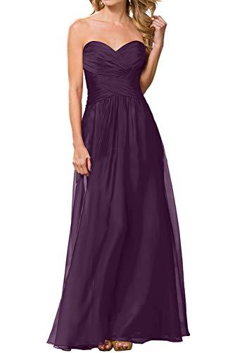 Herzausschnitt Braut Abendkleider Chiffon Bodenlang La Marie Brautjungfernkleider Neuheit Ballkleider Traube wZR6nfxHqA