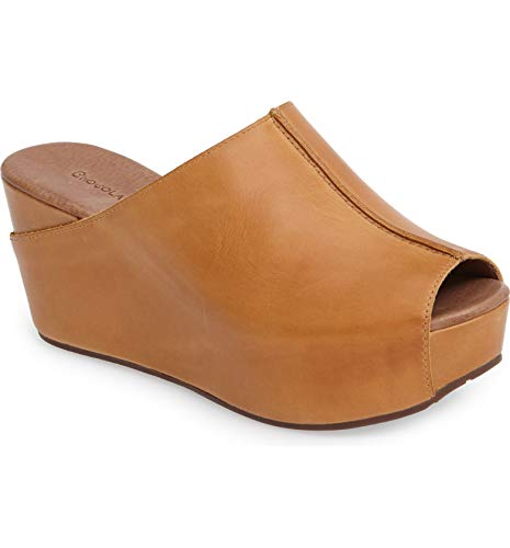 Chocolat Blu Wynn Wedge - Platform Slip On Mule Sandals - Women's Leather Shoes Camel Leather 7.5