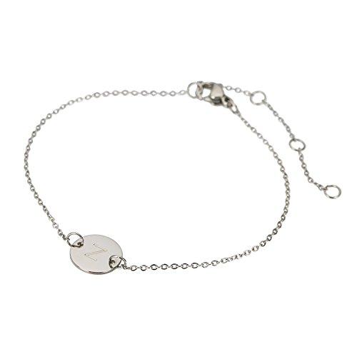 HUAN XUN Stainless Steel Round Pendant Bracelet Z Initial Bracelets Round Pendant Bracelet