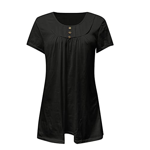 Balakie Women's Summer Pleated Blouse Solid Color/Floral Printed Loose Flowy Tunic Top for Leggings Short Sleeve/Long Sleeve