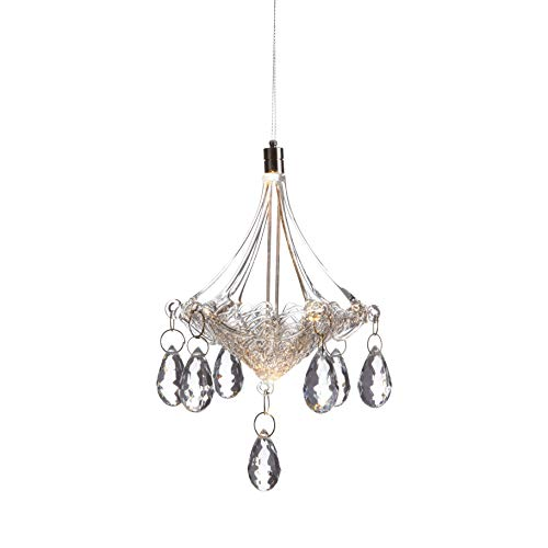 Led Crystal Miniature (Anvehu Ornaments Hand-Blown Glass Chandelier with LED Lighting Decorative Hanging Ornament for Fall and Christmas Decorations)