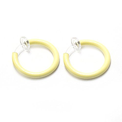 (Hoop Rings Clip-On Pair Glows In Dark Spring Action Non-Piercing Fake Septum Lip Ear Nose (Yellow))