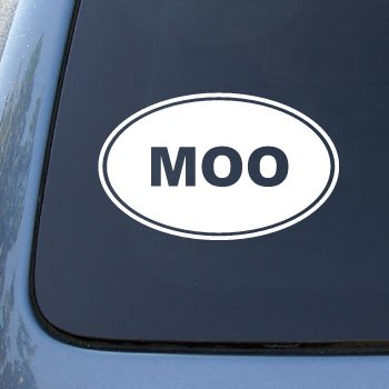 MOO - Cow Farm - Vinyl Car Decal Sticker #1542 | Vinyl Color: White
