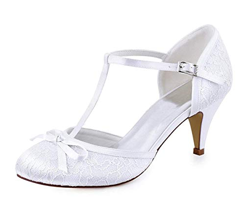 Shoes Knot Lovely 7 strap Ladies colore T Wedding White Lace Uk 5 Qiusa Dimensione Retro gHznT5wqwx