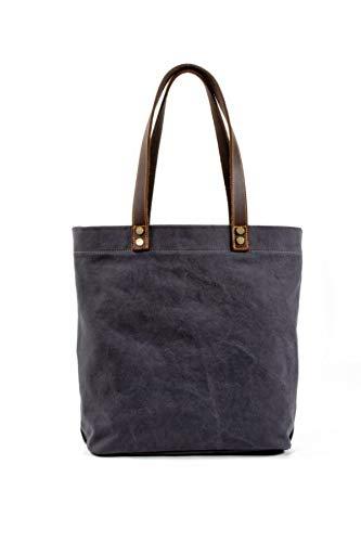 - Canvas Tote Handbag Shoulder Bag For Men And Women Leather Handle (Medium Grey)