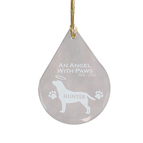 GiftsForYouNow Engraved Labrador Dog Memorial Tear Drop Ornament, 3 3/4