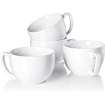 Teocera Porcelain Jumbo Mugs with Handle - 16 oz for Cappuccino, Coffee, Latte, Soup, Cereal, White - Set of 4