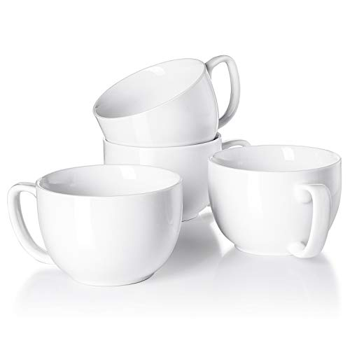 16 Latte Ceramic Mug Oz - Teocera Porcelain Jumbo Mugs with Handle - 16 oz for Cappuccino, Coffee, Latte, Soup, Cereal, White - Set of 4