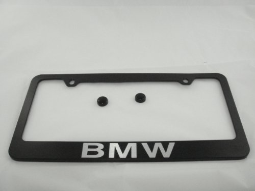 BMW Black License Plate Frame w/ Black Caps
