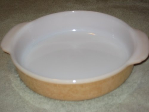 Vintage Anchor Hocking Fire-King Peach Luster 8 1/2 Inch Round Glass Cake Pan Baking Dish w/ -