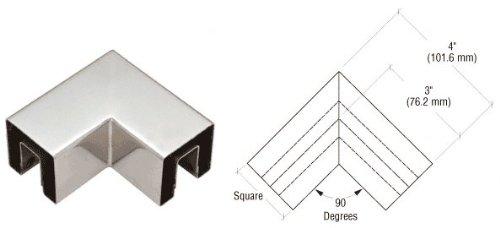 Polished Stainless Square 2'' 90 Degree Horizontal Corner for 1/2'' Square Glass Cap Railing