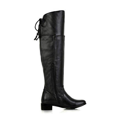 Mode Hälen Kvinna Låg Klack Rund Tå Ovanför Knät Boot Svart