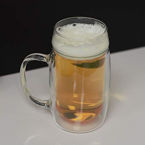 Simax Glassware Double Walled Insulated Glass Beer Mug | With Handle, Freezer, Microwave, Hot Water, and Dishwasher Safe Borosilicate Glass, 16.9 Ounce (2)