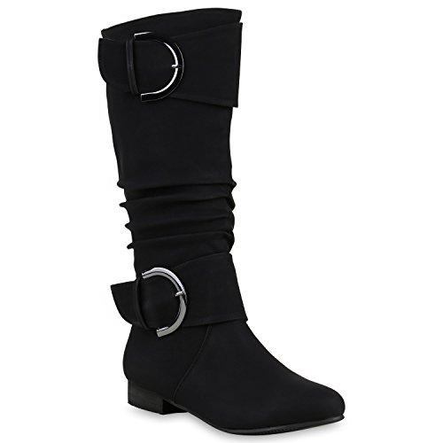 Stiefelparadies Klassische Damen Stiefel Langschaftstiefel Velours Schnallen Schuhe Blockabsatz Damenstiefel Flandell Schwarz