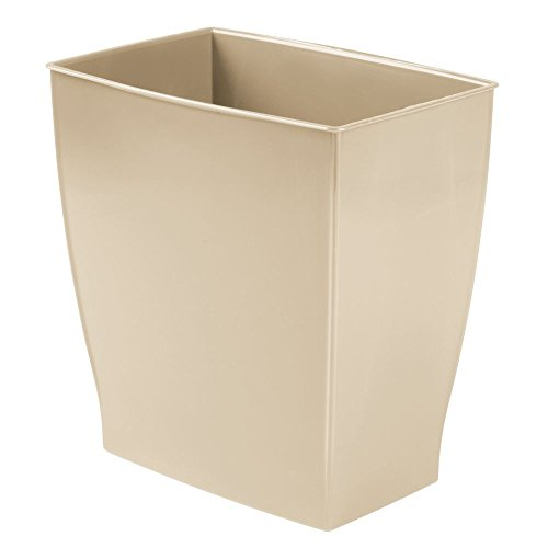 InterDesign Spa Rectangular Trash Can, Waste Basket Garbage Can for Bathroom, Bedroom, Home Office, Dorm, College, 2.5 Gallon, Beige